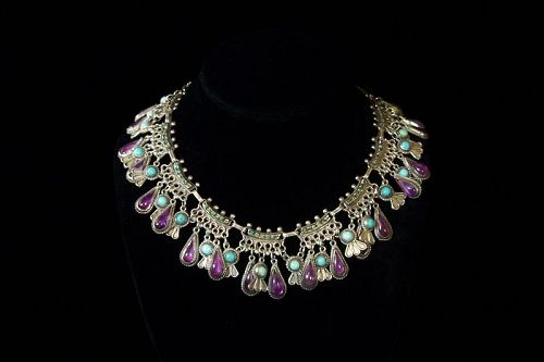 Matl Matilde Poulat Jeweled Vintage  Mexican Silver Charm Necklace