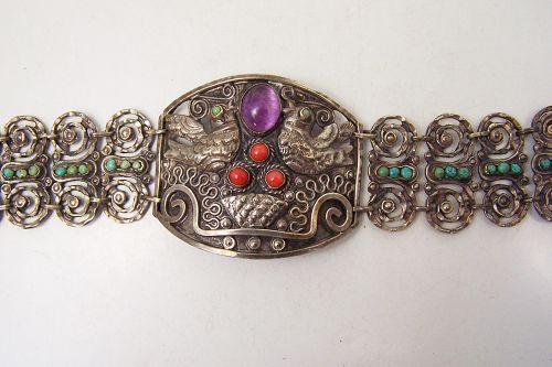 Plateria Cecilia Mexico City Folk Work Vintage Mexican Silver Bracelet
