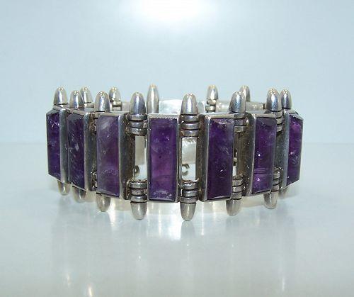 Antonio Pineda ZZ702 Vintage Mexican Silver Bracelet Amethyst