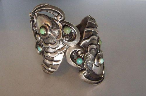 Margot de Taxco  # 5207 Vintage Mexican Silver Fish Clamper Bracelet