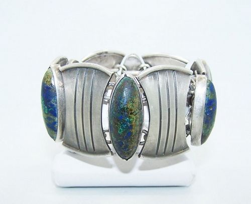 Hector Aguilar Stone and Shields Vintage Mexican Silver Cuff Bracelet