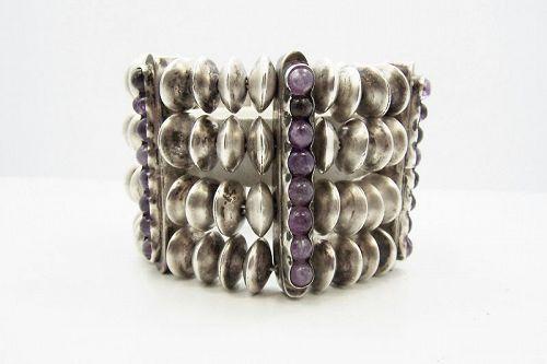 Early Fred Davis Amethyst Bars & Silver Bead Big Bracelet