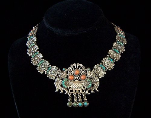 Matl Matilde Poulat Jeweled Vintage  Mexican Silver Palomas Necklace