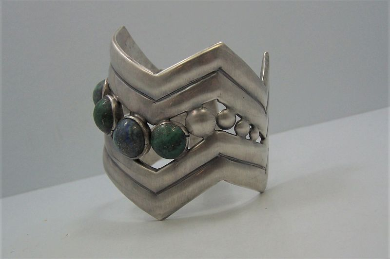 William Spratling Vintage Mexican Silver V Cuff Bracelet