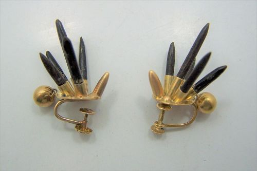 18 kt Mexican Gold William Spratling Vintage Obsidian Quil Earrings