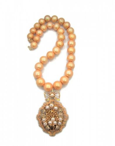 Large Gold Mexican Wire Work Pendant & Gold Tahitian Pearls