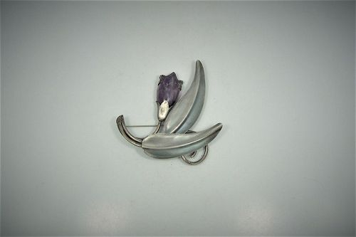 Fred Davis Vintage Mexican Silver Amethyst Floral Brooch Pin