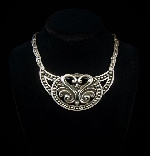 Margot de Taxco 5291 Swann Vintage Mexican Silver Necklace