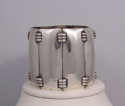 Fred Davis Giant Shields Mexican Silver Bracelet