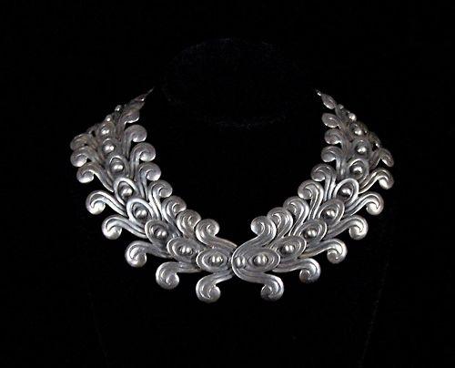 Los Castillo 262 Vintage Mexican Silver Double Pre Colombian Necklace
