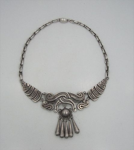 William Spratling Vintage Mexican Silver Necklace Deeply Chased
