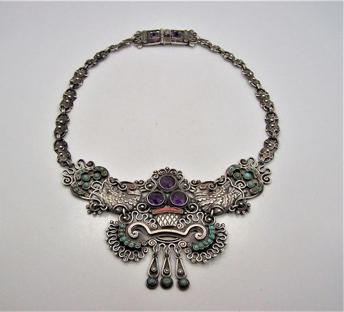 Matl Matilde Poulat Jeweled Vintage  Mexican Silver 3 stone  Necklace
