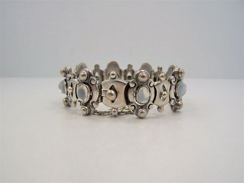 Antonio Pineda Vintage Mexican Silver Framed Moonstone Bracelet