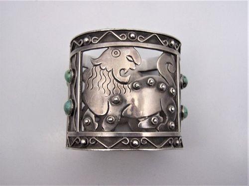 Fred Davis Vintage Mexican Silver Lion Bracelet