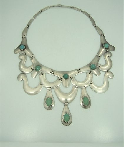 Turquoise Vintage Mexican Silver Bib Necklace