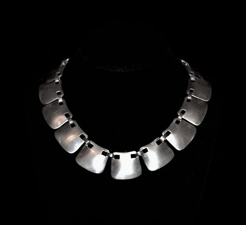 Hector Aguilar Peaked Mexican Silver Necklace