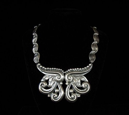 Margot de Taxco # 5184 Vintage Mexican Silver Necklace Pectoral