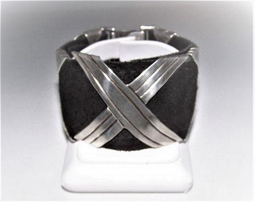 Hector Aguilar Vintage Mexican Silver Bracelet Belt Bracelet