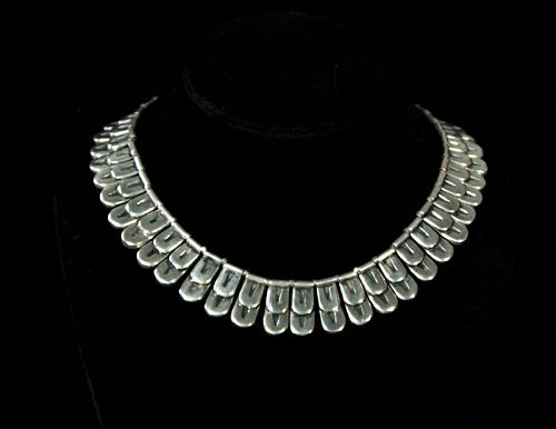 Los Castillo  Vintage Mexican Silver Feathers Necklace
