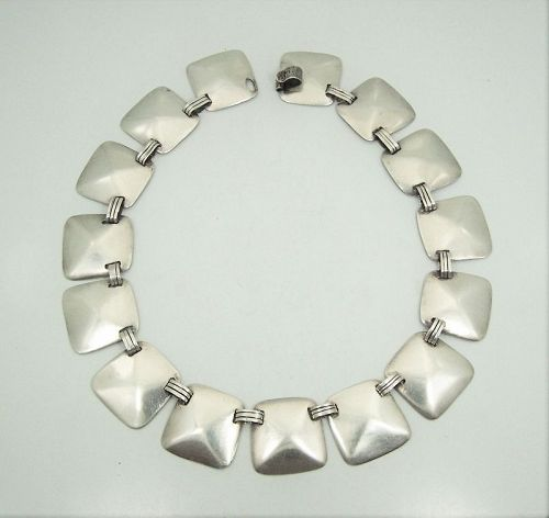 Fred Davis Faceted Trapezoid Vintage Mexican Silver Necklace