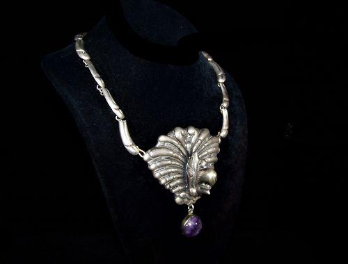 Quetzalcoatl Mexican Silver Vintage Necklace Brooch