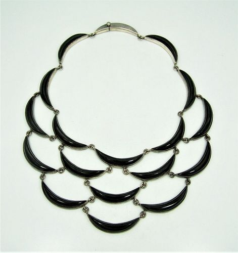 Antonio Pineda Vintage Mexican Silver Crescent Necklace