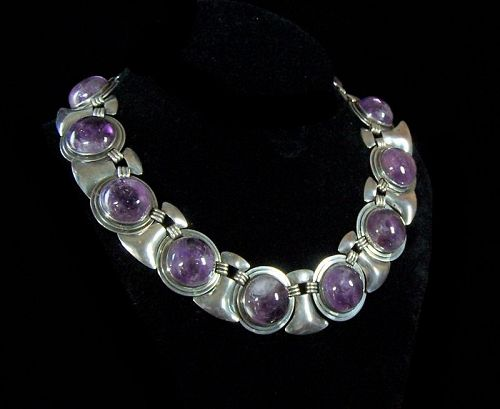 Huge Fred Davis Amethyst Shields Vintage Mexican Silver Necklace