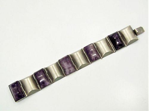 Fred Davis Vintage Mexican Silver Amethyst Bracelet