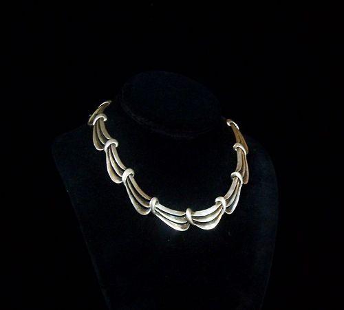 Antonio Pineda Vintage Mexican Silver Waves Necklace