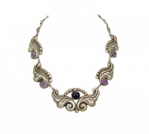 Vintage Mexican Silver Early Repousse  Amethyst Necklace