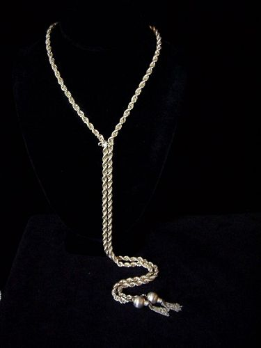 Vintage Mexican Silver Eagle 1 Rope Lariat Necklace!