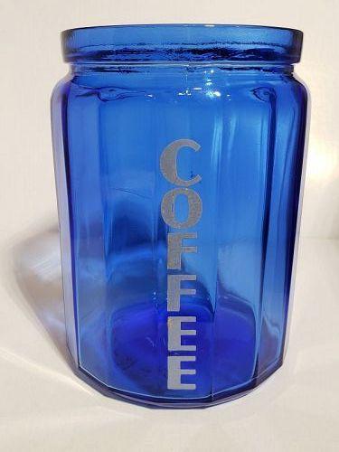 Hazel Atlas Cobalt Blue RARE Coffee Canister