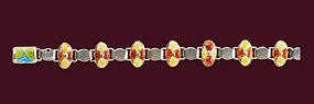 James Fenton Arts & Crafts Silver Enamel Bracelet 1909