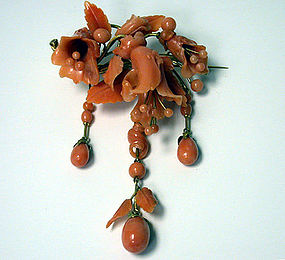 Fine  Antique large carved Coral drop brooch, C.1850