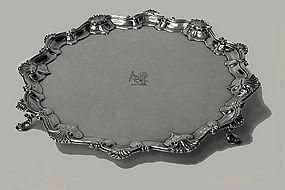 Georgian Silver Salver, London 1758, Richard Rugg.