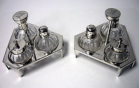 Christopher Dresser Pair Silver Cruets Condiments