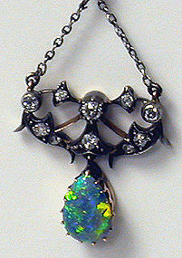 Antique Opal and Diamond Pendant 15K C.1900