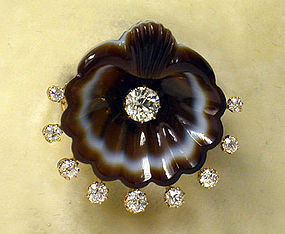 Gold diamond & agate  Brooch, England C.1875