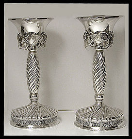 Pair of large Danish style Sterling Silver Candlesticks