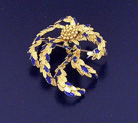 Enamel 18K Gold Crab Brooch