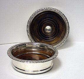 Old Sheffield Plate Wine Coasters, English, C.1810.