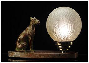 French Art Deco spelter Dog  Marble  Desk Lamp, C.1920