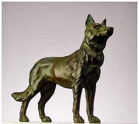 French Art Deco spelter Alsatian Dog  Marble sculpture