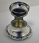 Antique Edwardian silver fancy Inkwell, Birmingham 1905