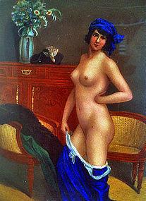 Enamel Silver erotic Nude Cigarette Case Box C.1920