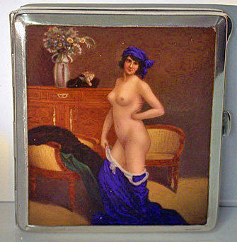 Enamel Silver erotic Nude Cigarette Case Box C.1920