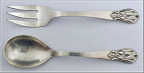 Carl Poul Petersen Silver Salad Servers Montreal C.1930