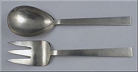 Pair of Modernism Sterling hand made Servers, Adra, Ame