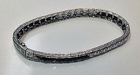 Art Deco Bracelet Platinum Diamond and Onyx C.1920