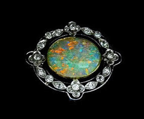 Murrle Bennett Platinum 18K Opal Diamond Brooch C.1910